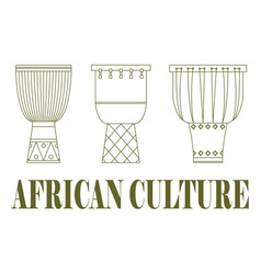 set of three traditional african drums vector image