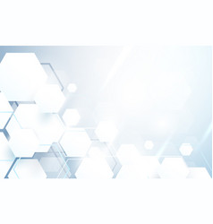 abstract white hexagons repeating and futuristic vector image vector image