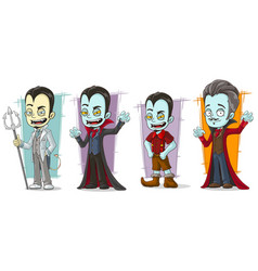 Cartoon scary vampire family characters set vector