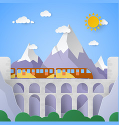 mountain landscape with aqueduct and railway vector image vector image