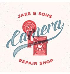 Retro Print Camera Repair Shop Logo or Label vector image