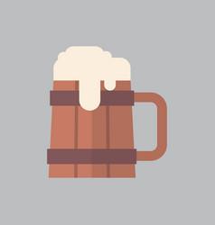 wooden beer mug icon oktoberfest festival concept vector image vector image