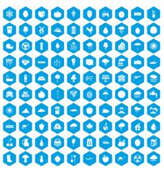 100 fruit icons set blue vector
