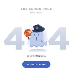 404 error page not found design with ghost vector