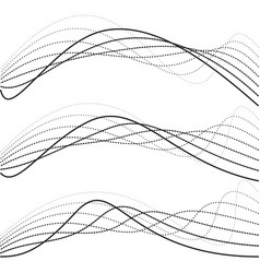 abstract curves dotted lines black and white vector image