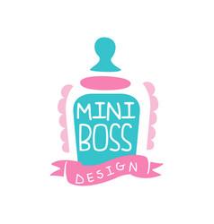 Adorable mini boss logo original design vector