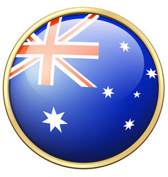 australia flag on round badge vector image