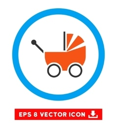 Baby Carriage Eps Rounded Icon vector