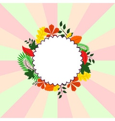 Background Card with different leaves around circl vector
