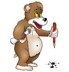 Bear Holding A Pen vector