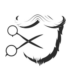 beard and silhouette scissors vector image