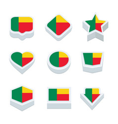 benin flags icons and button set nine styles vector image