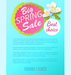 best choice big spring sale off web poster online vector image