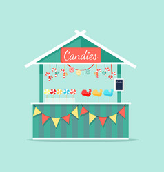 Big booth with candies icon vector