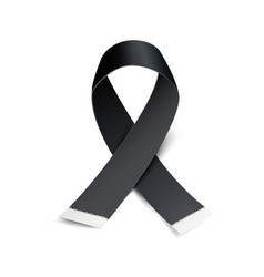 black awareness ribbon on white background vector image