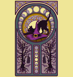 black cat and witch hat art nouveau style card vector image