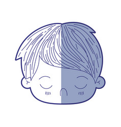 Blue shading silhouette of kawaii head of little vector