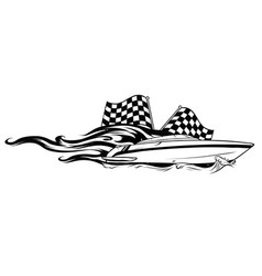 Boat race icon with fire vector