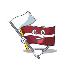 Bring flag cartoon flag latvia in with mascot vector