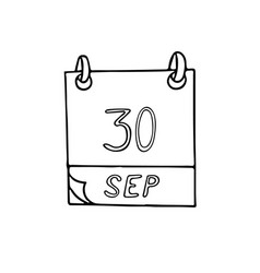 Calendar hand drawn in doodle style september 30 vector