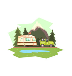 car towing caravan trailer against mountain vector image
