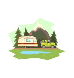 Car towing caravan trailer against mountain vector