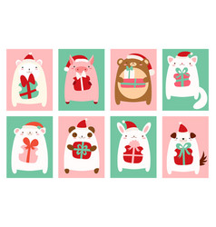 Christmas banners with cute animals vector