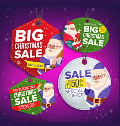 christmas sale tags flat christmas special vector image