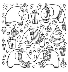 Christmas set of doodle elephants and elements vector