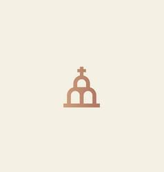 church logotype line cross house logo vector image