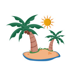 coconut trees sunny island summer related design vector image