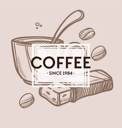 coffee cup beans and chocolate bar monochrome vector image