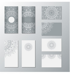 collection card with white ornament set cards vector image vector image