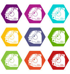 construction roulette icons set 9 vector image
