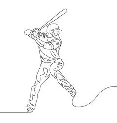 continuous line baseball player batter going to vector image