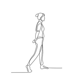 Continuous one line woman walk with hands behind vector