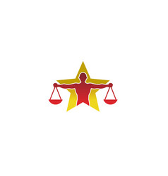 Creative human body law balance star logo vector