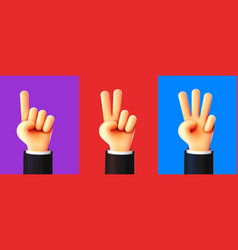 Cute 3d hands counting one two three three steps vector