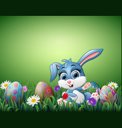 cute little rabbit cartoon with decorated easter e vector image