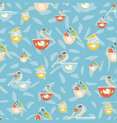 Cute vintage kitchen bird and bowl pattern vector