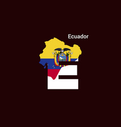 ecuador initial letter country with map and flag vector image