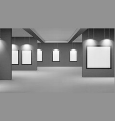 empty gallery with blank picture frames vector image