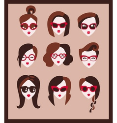 fashion girls in glasses vector image vector image