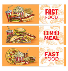 fast food banners sketch burgers sandwiches pizza vector image
