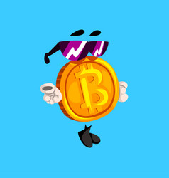 Funny bitcoin character in sunglasses crypto vector