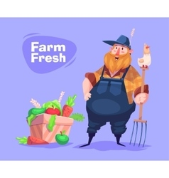 Funny farmer character Isolated vector