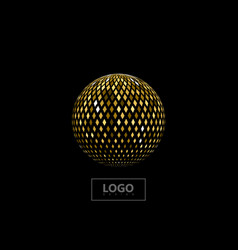 golden mosaic sphere vector image