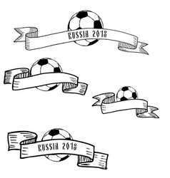 hand drawn ink frames with football ball vector image