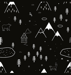 hand drawn scandinavian animals in forest vector image