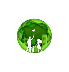 happy family with kid green city concept vector image